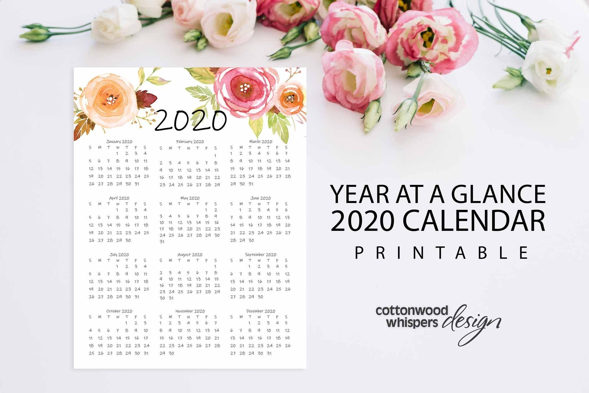 "Year At A Glance Calendar 2020 | Printable Calendar | Letter Size 8.5"" X  11"" | Instant Download | Portrait | Planner"