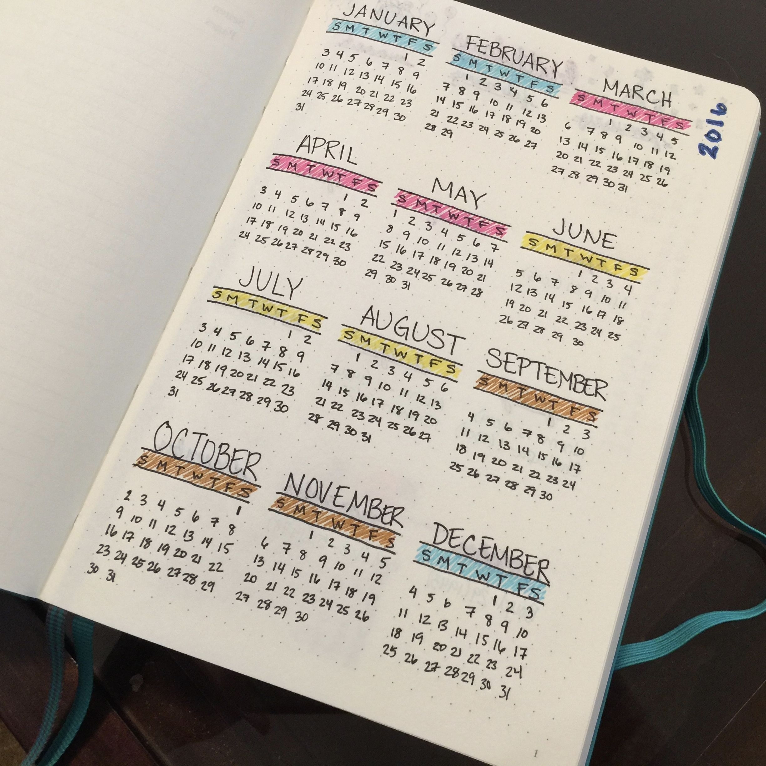 Year-At-A-Glance Calendar In My Bullet Journal, Color-Coded