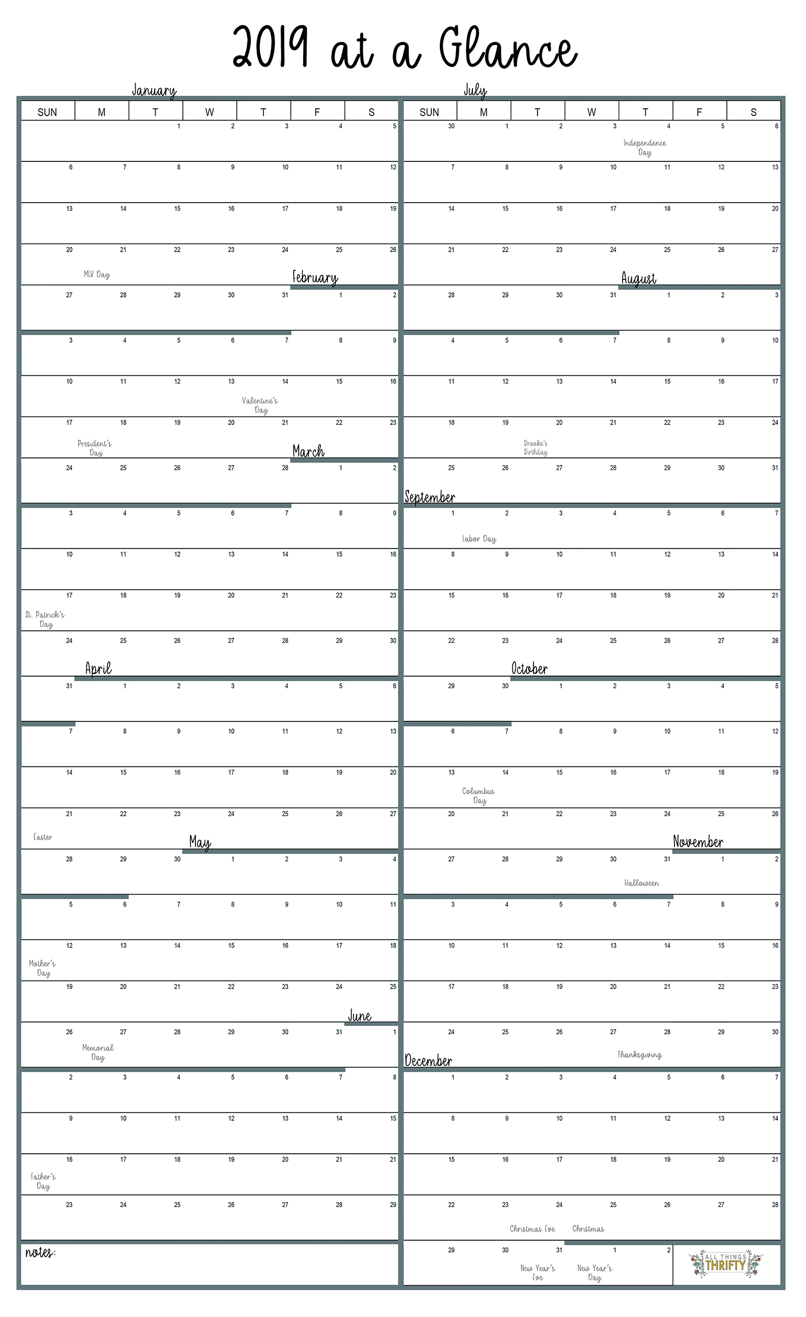 Year At A Glance Free Printable Calendar | All Things Thrifty