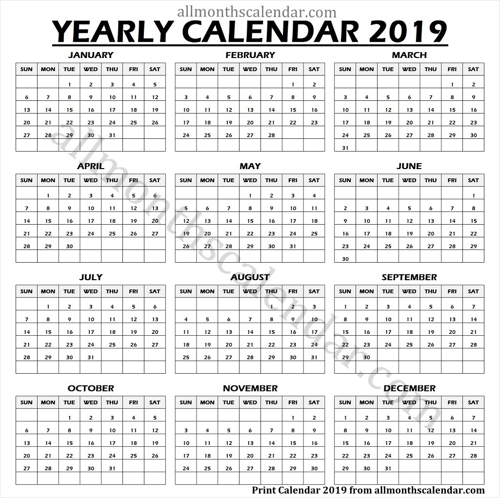 Year Calendar 2019 One Page | 2019 Calendar Printable One Page