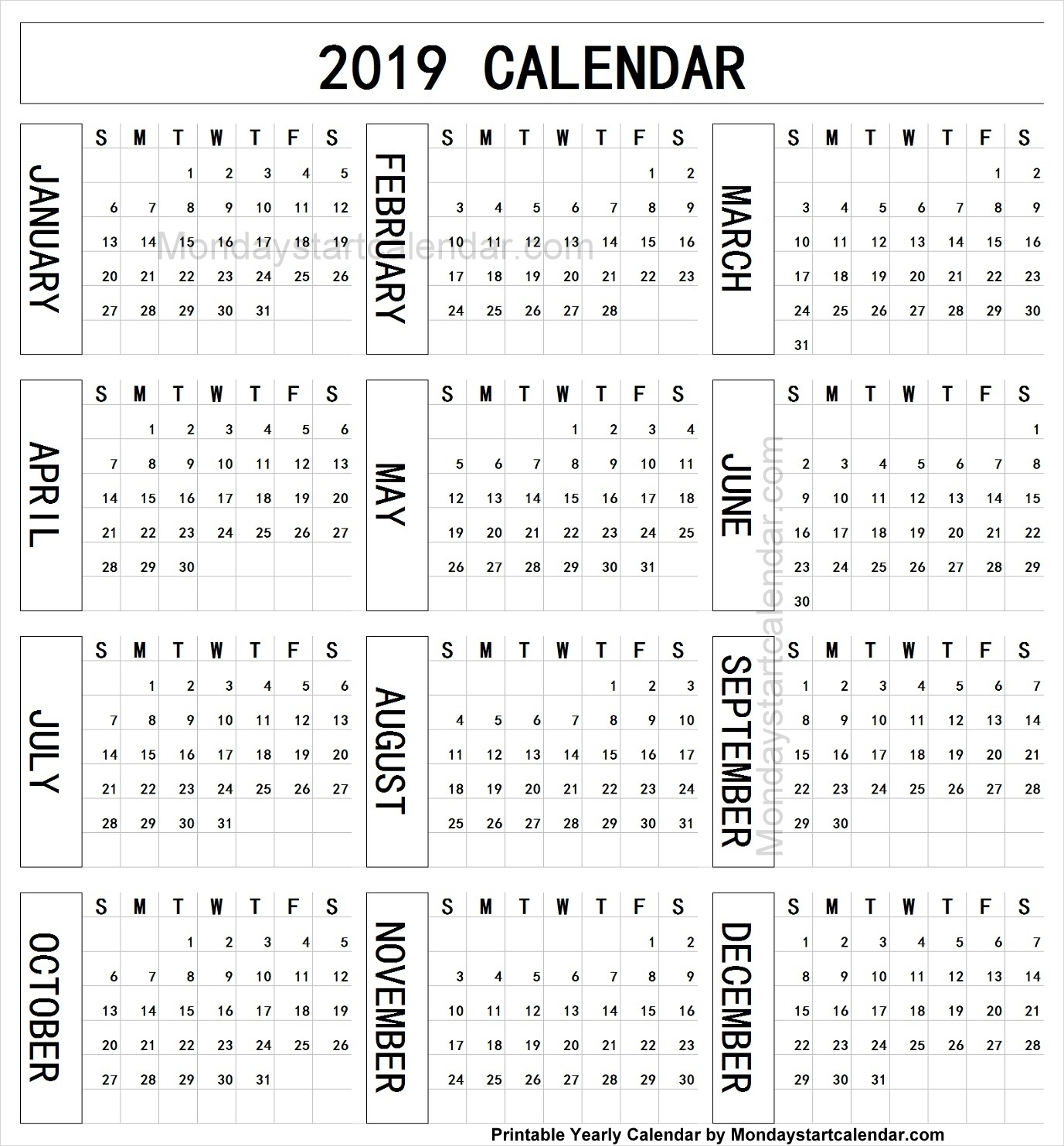 Year Calendar 2019 One Page | Editable 2019 Yearly Template