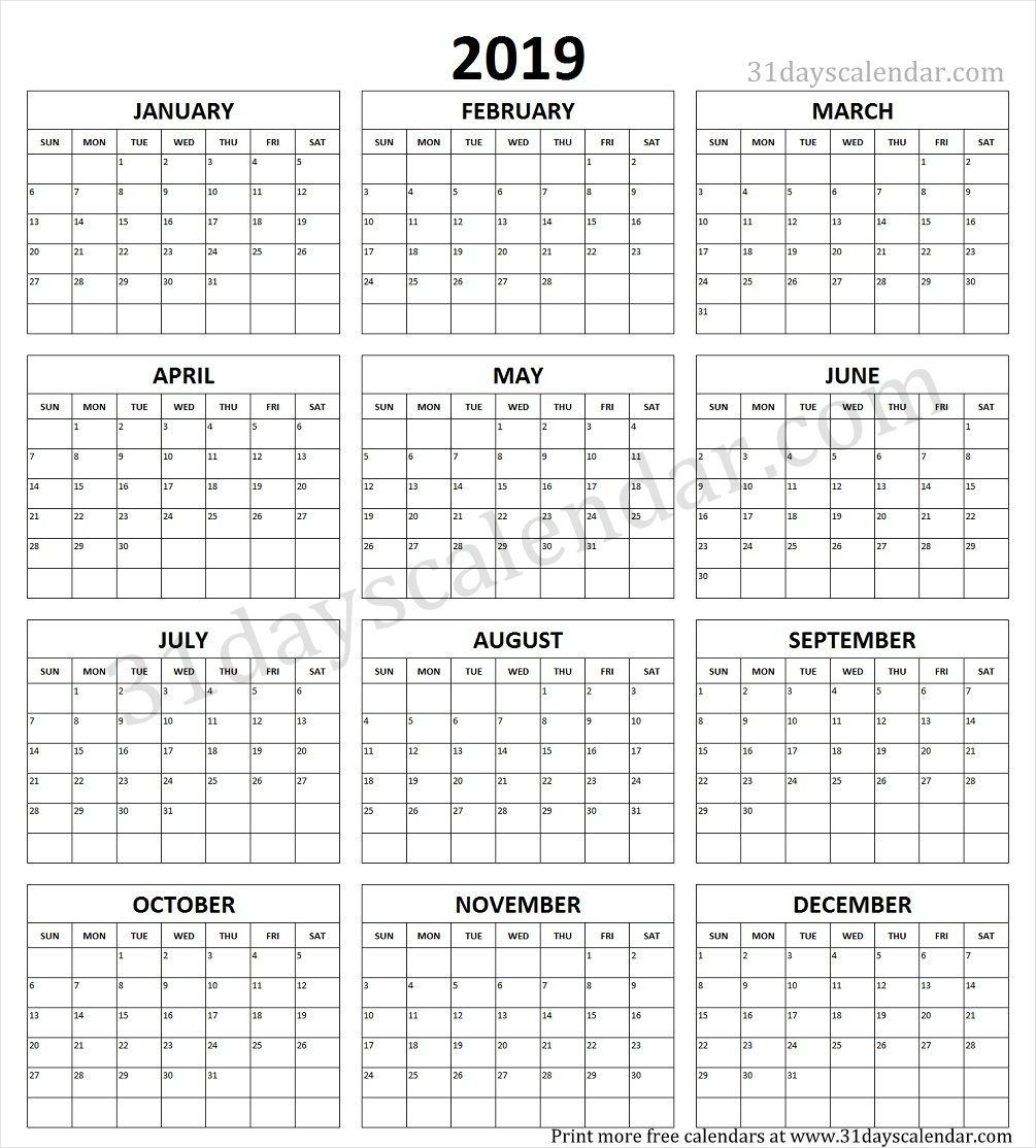 Year Calendar 2019 Printable One Page | Calendar 2019