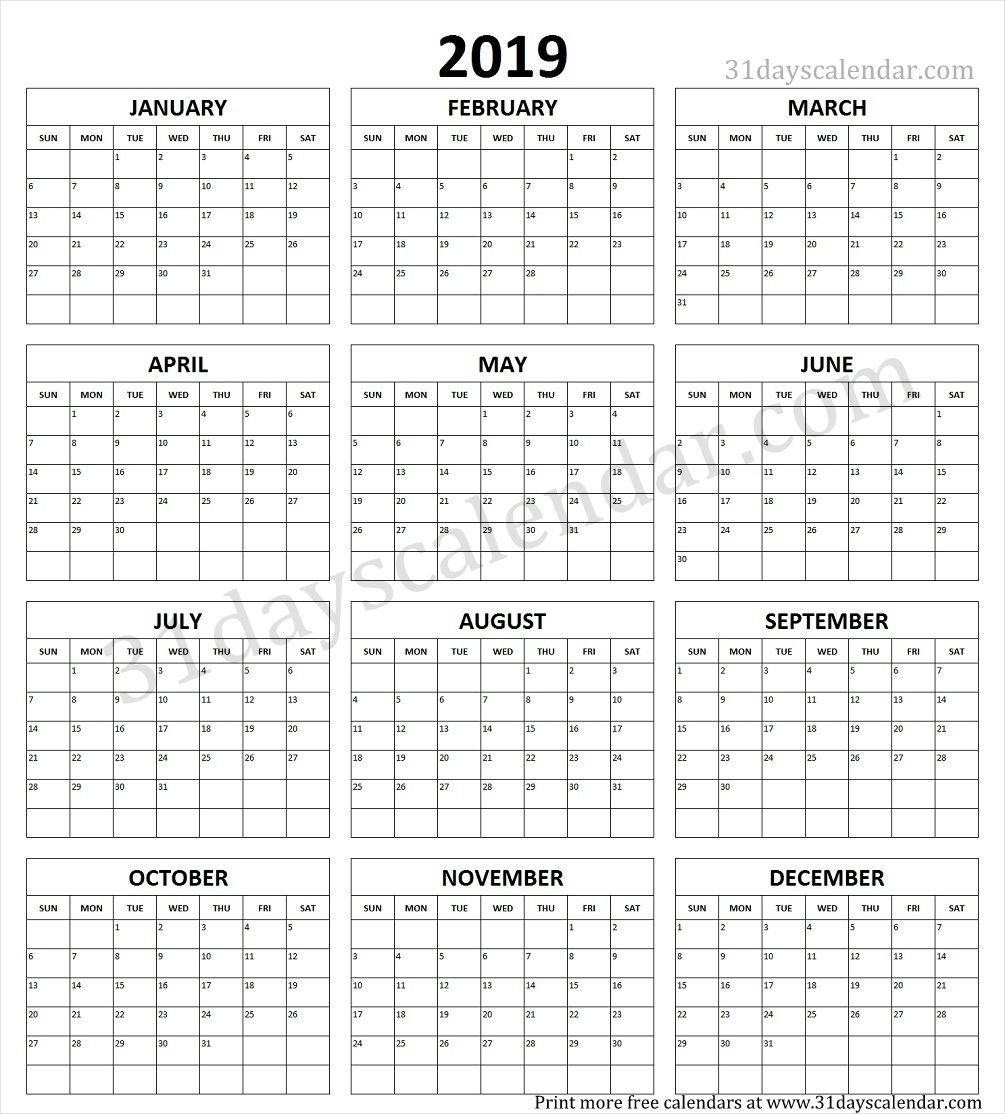 Year Calendar 2019 Printable One Page | Calendar 2019