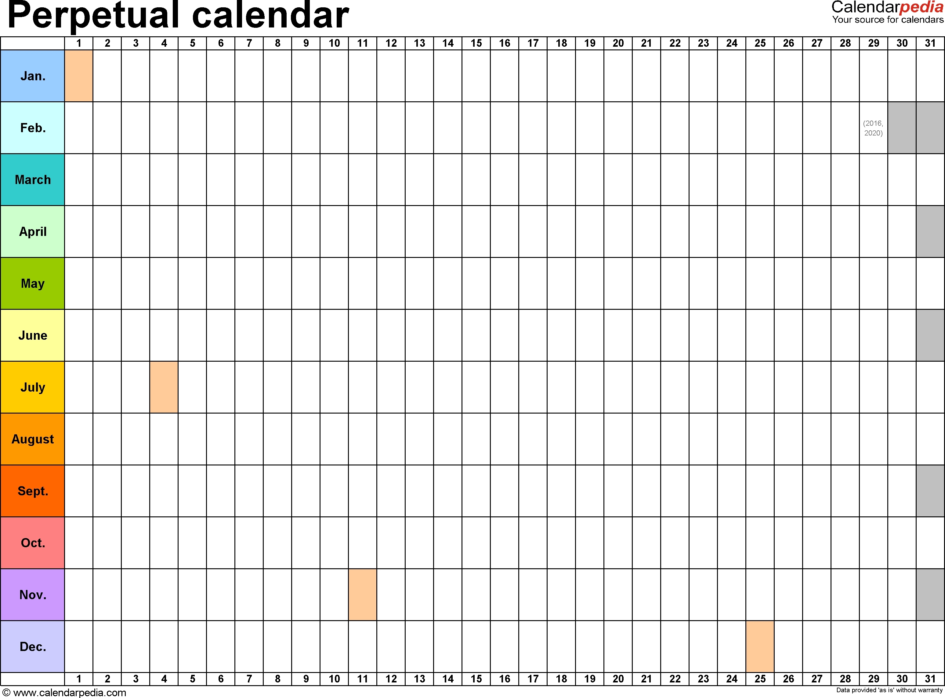 Year Calendar On One Page 2016 | Calendar Template 2019