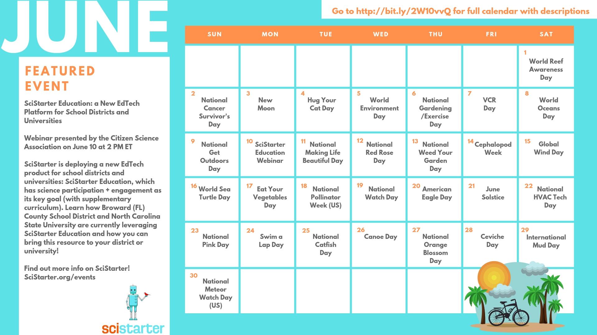 Year In Citizen Science: June Calendar - Scistarter Blog