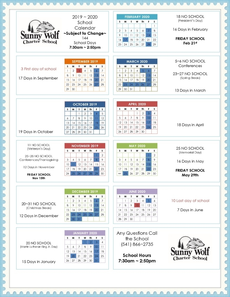Year Long Calendar – Sunny Wolf Charter School