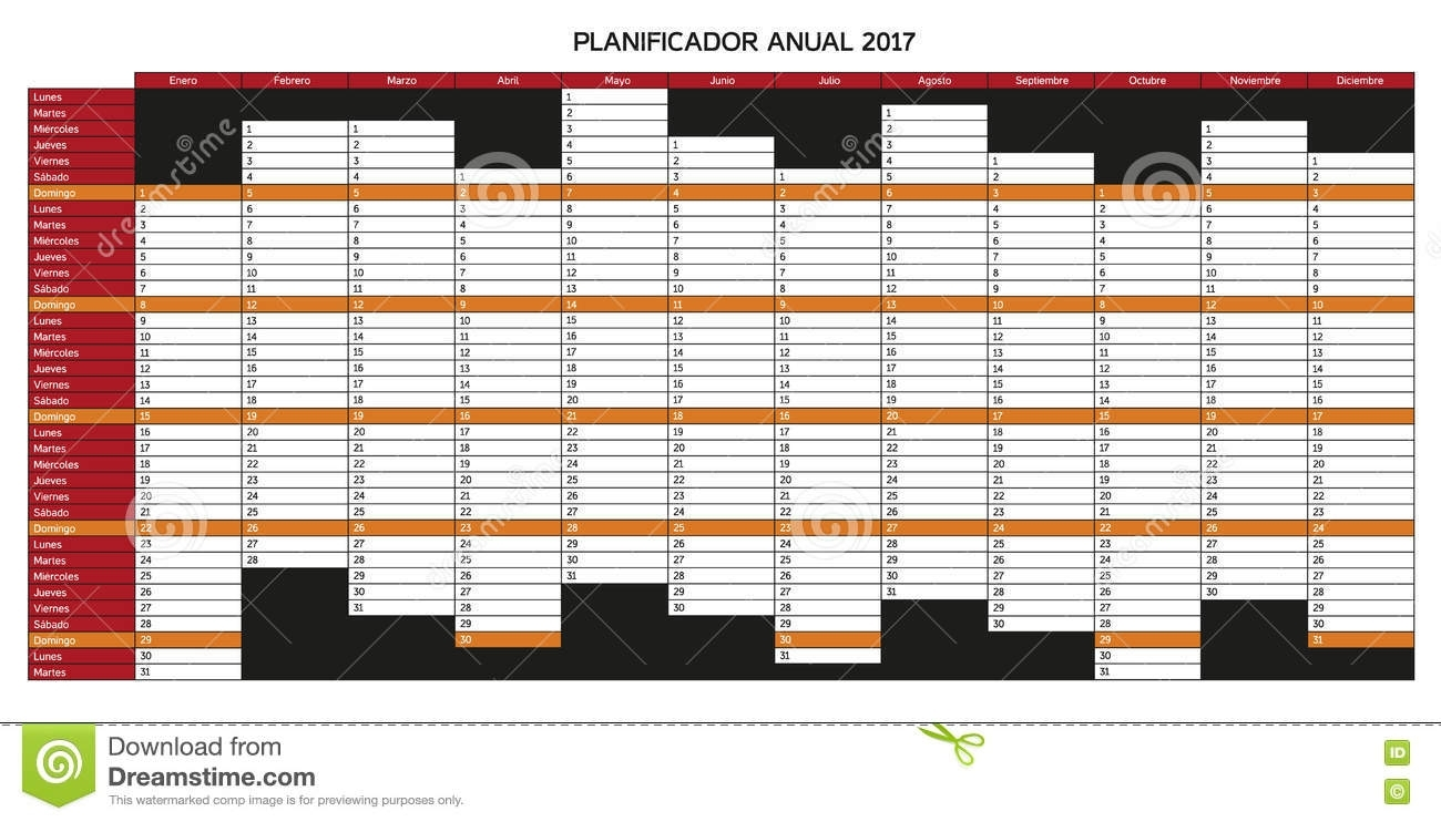 Year Planning Calendar For 2017 In Spanish - Planificador