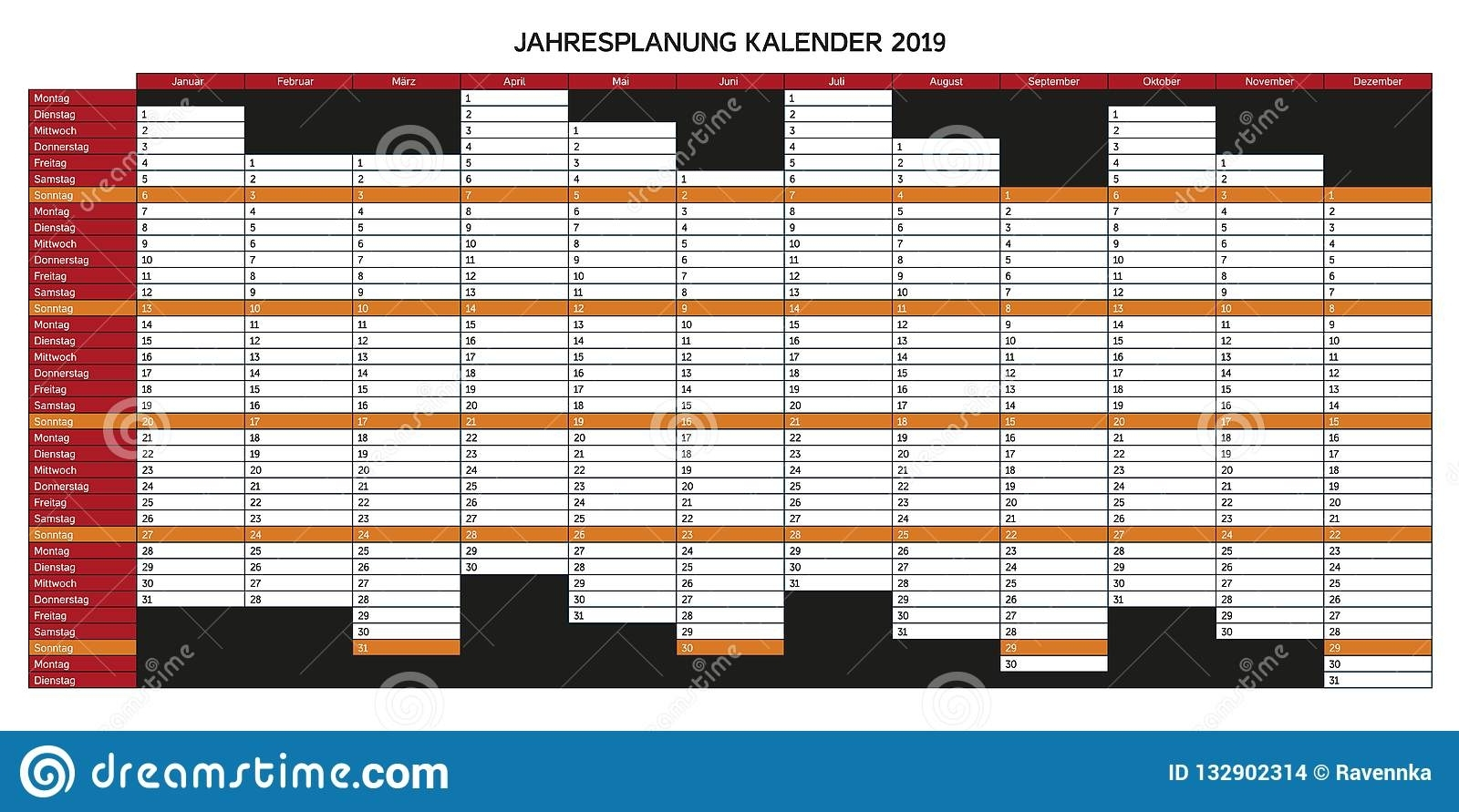 Year Planning Calendar For 2019 In German - Jahresplanung