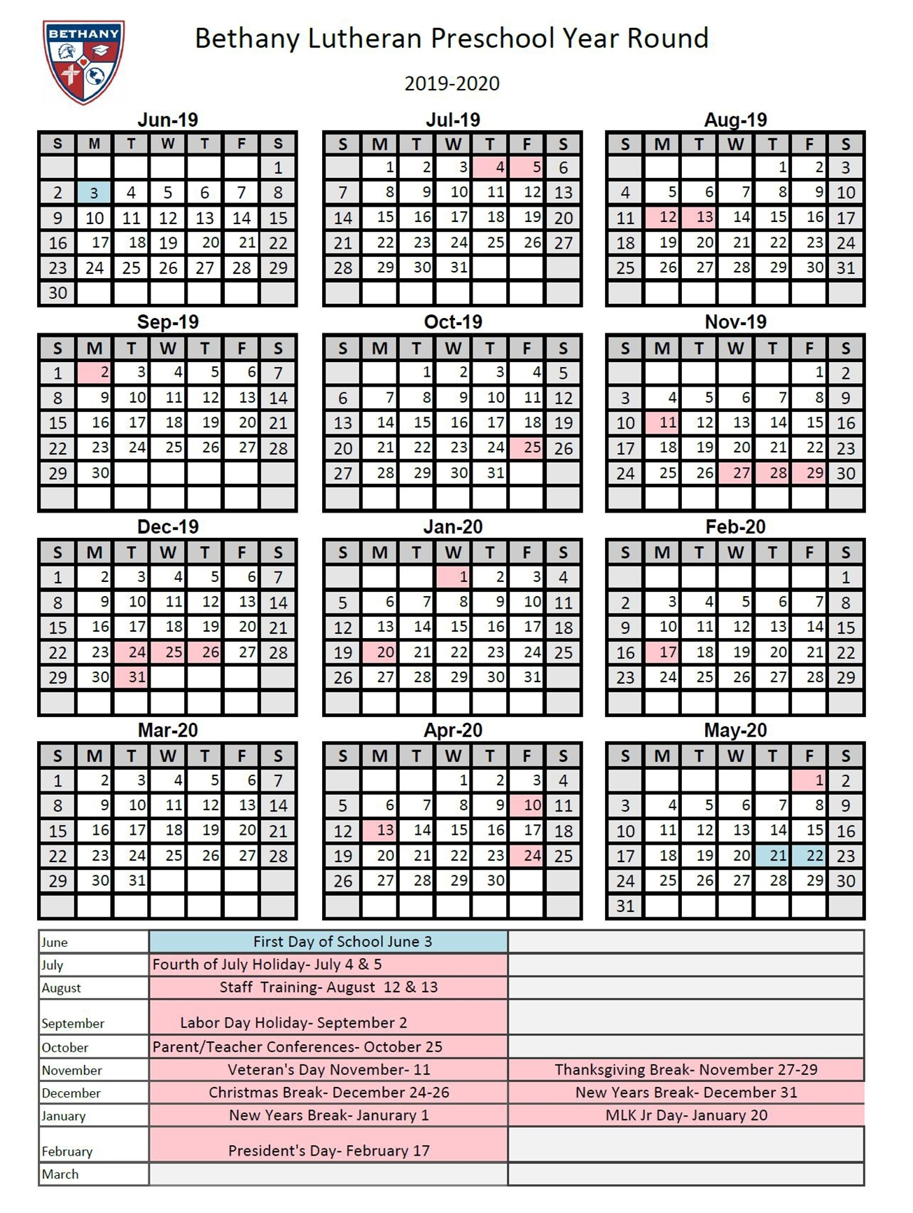 Year Round Calendar | Bethany Lutheran Ministries