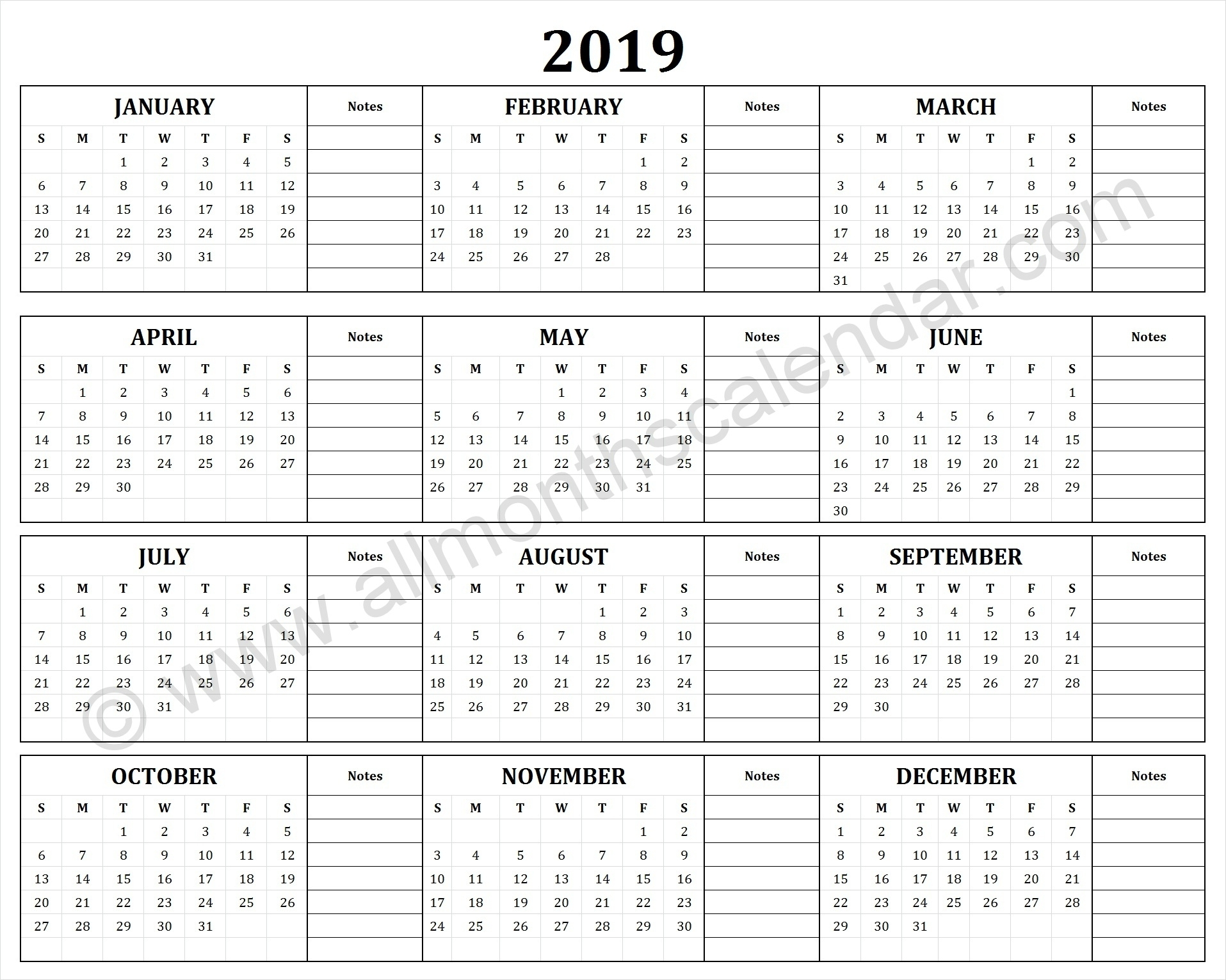 Yearly 2019 Yearly Calendar | 12 Month 2019 Calendar Printable