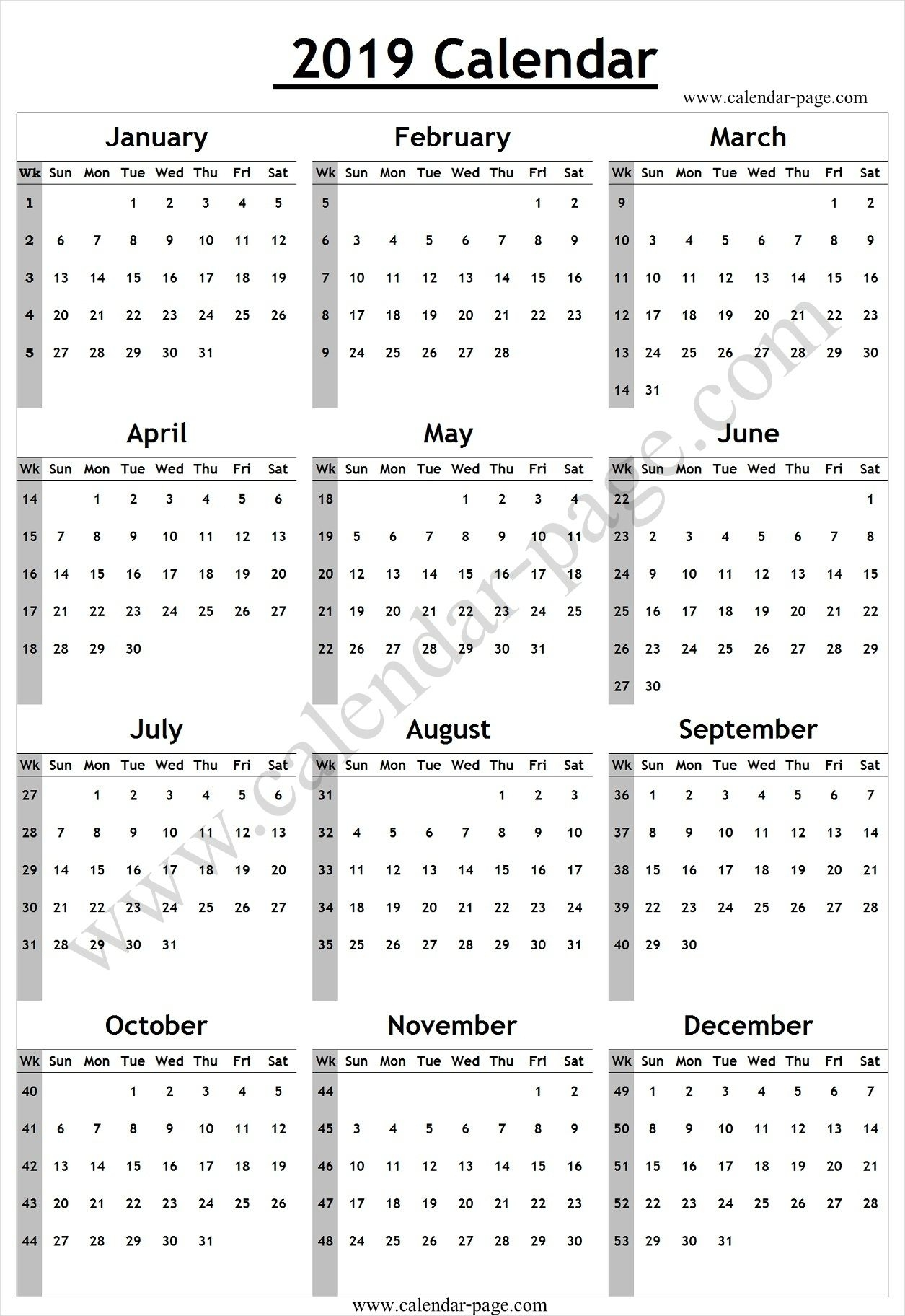 Yearly Calendar In Weeks