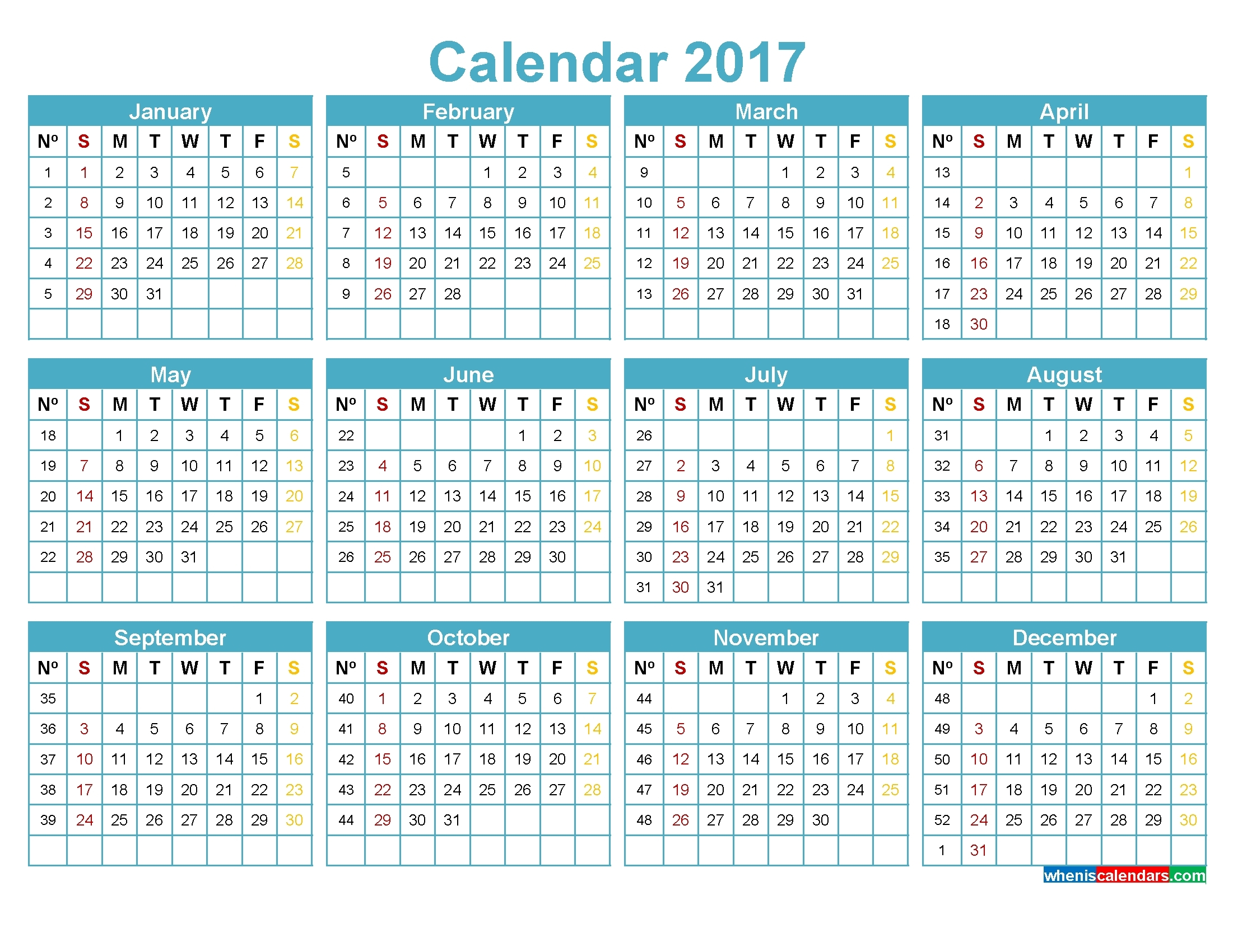 Yearly Calendarweek – Monthly Printable Calendar