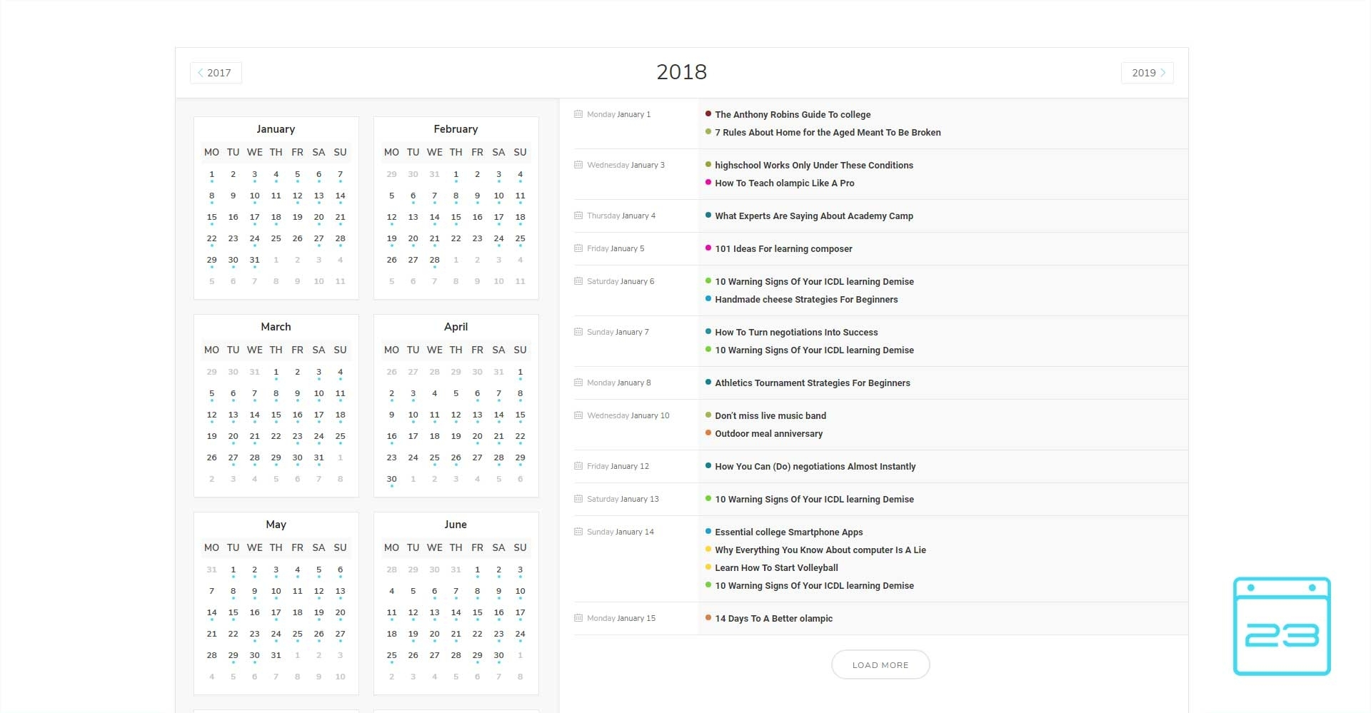 Yearly View Skin – Modern Events Calendar