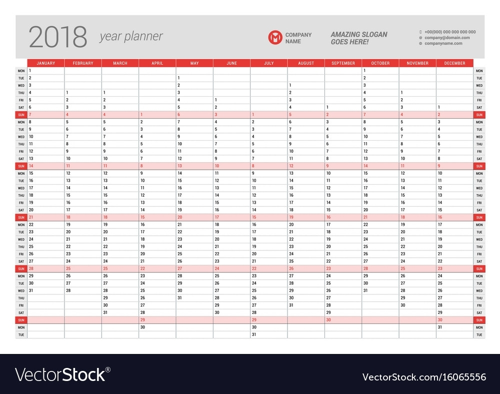Yearly Wall Calendar Planner Template For 2018