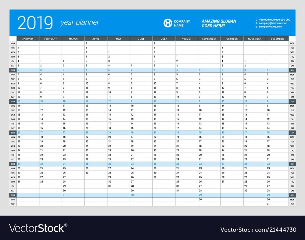 Yearly Wall Calendar Planner Template For 2019