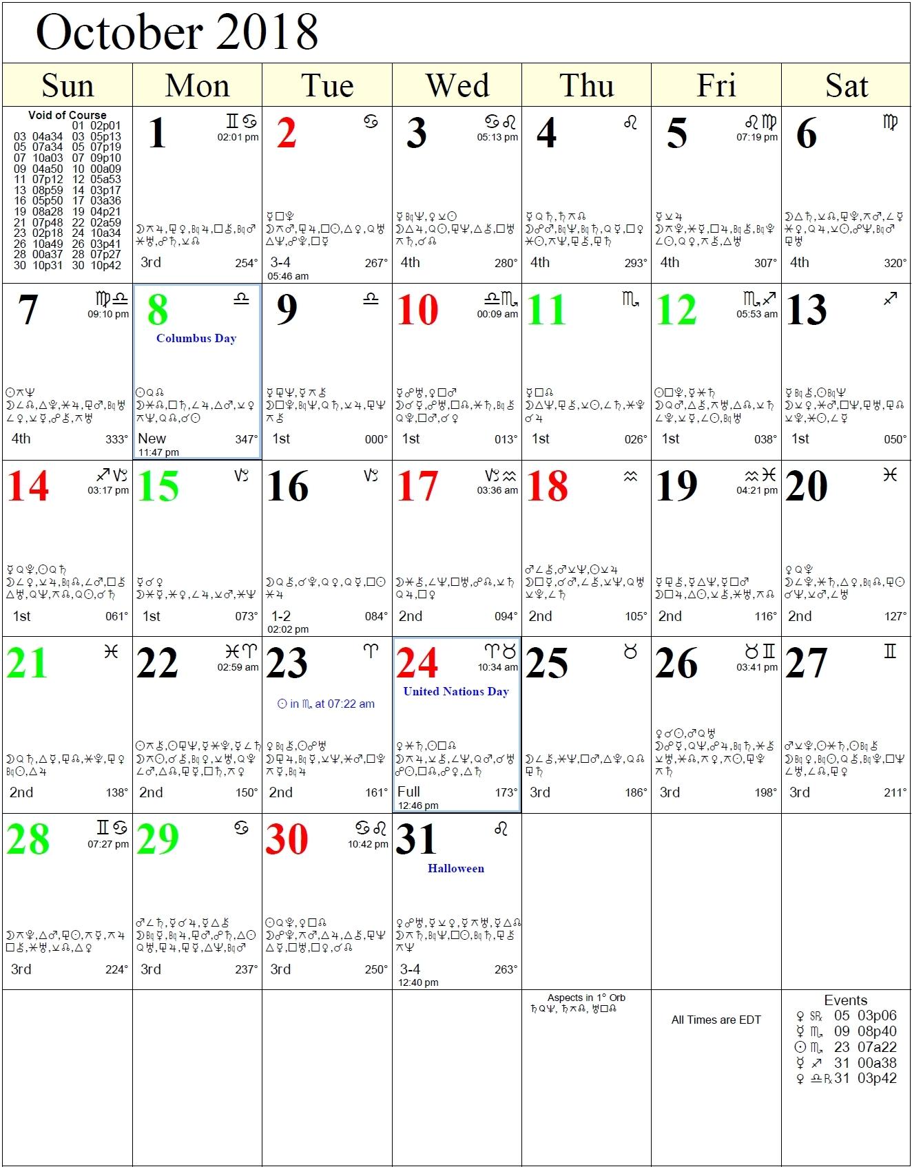 Zodiac Calendar For October • Printable Blank Calendar Template