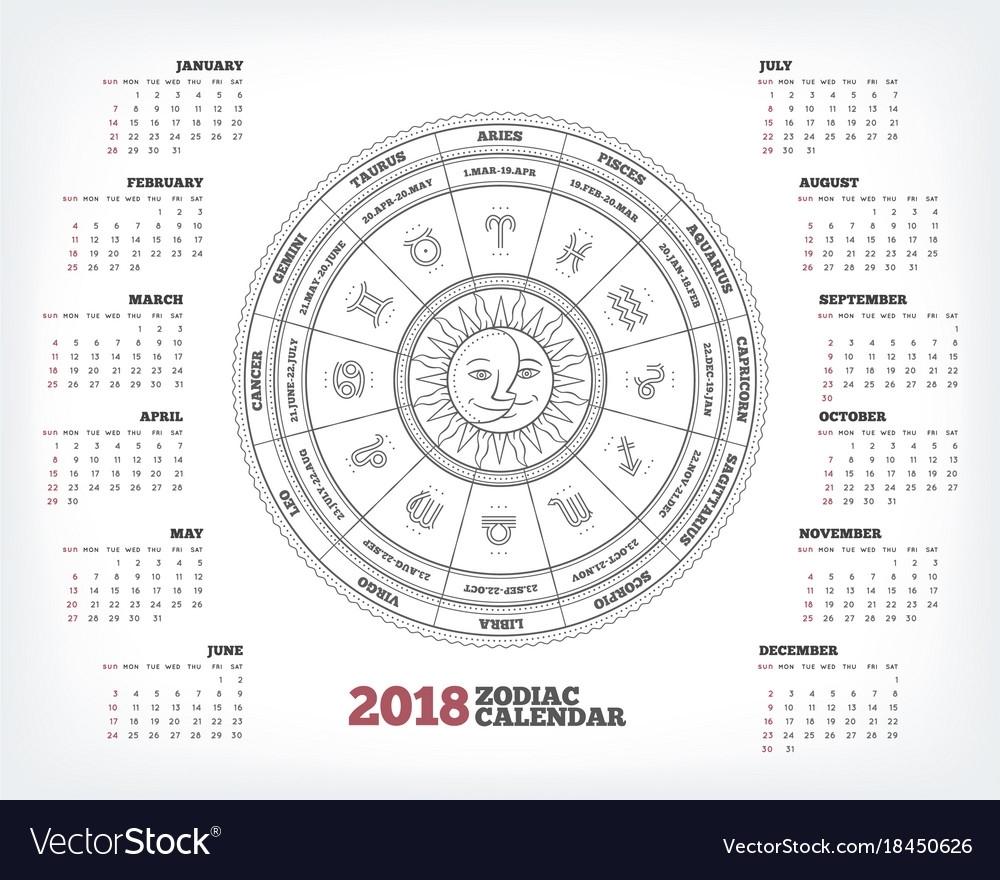 Zodiac Circle 2018 Year Calendar Poster