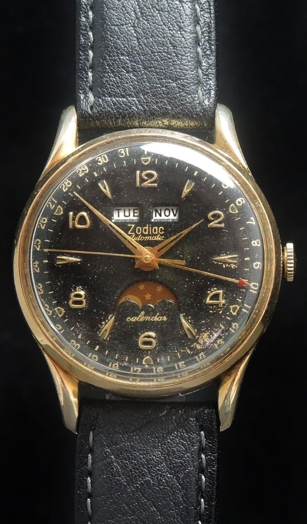 Zodiac Triple Date Datora Calendar Moonphase Automatic In