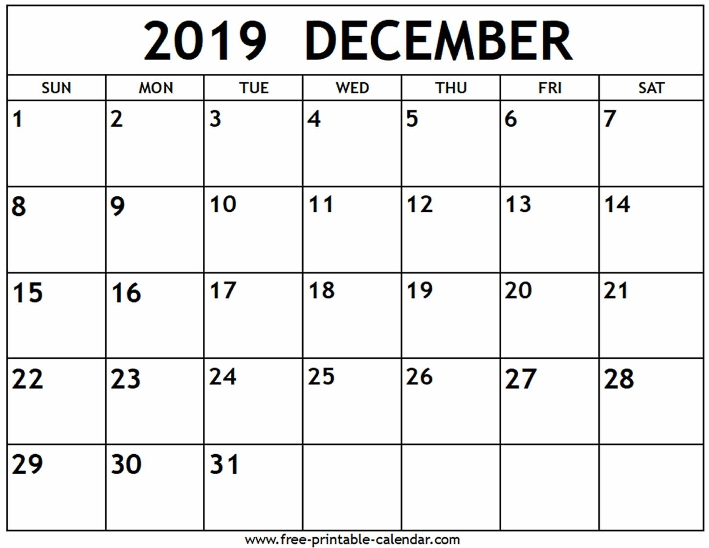 Printable Calendar Of December 2019 | Example Calendar Printable