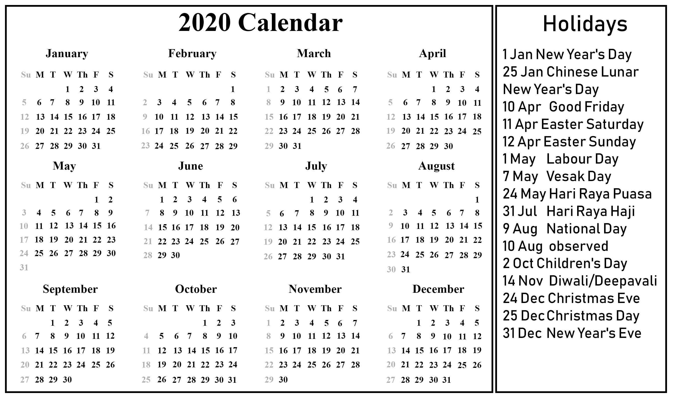 12 Month 2020 Printable Calendar Template With Holidays