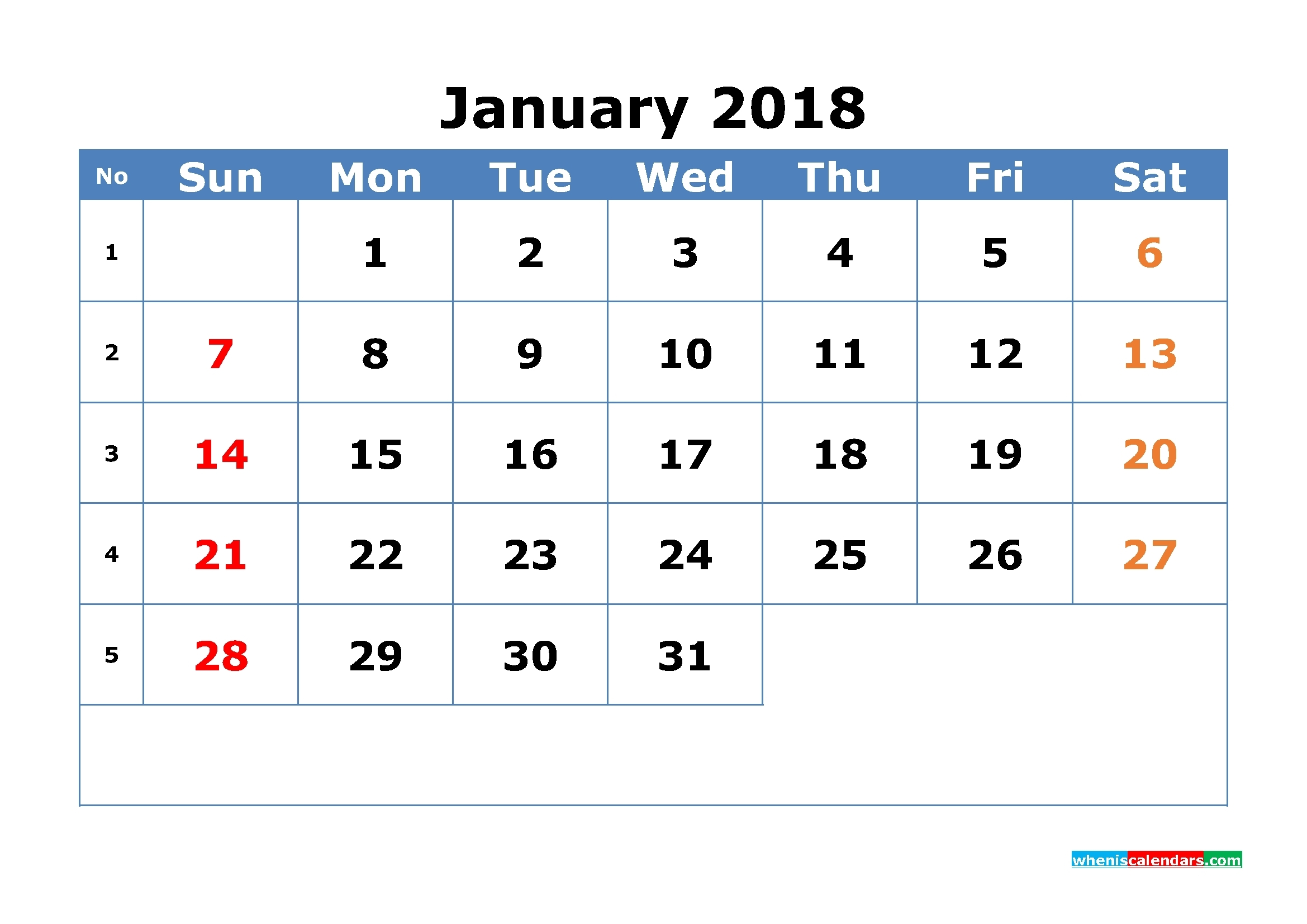 12 Month Calendar 2018 With Week Numbers Printable Pdf