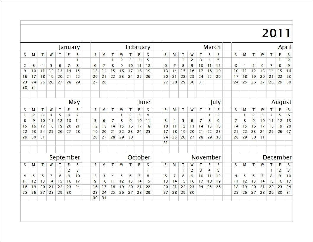2011 Calendar Below | Chainimage