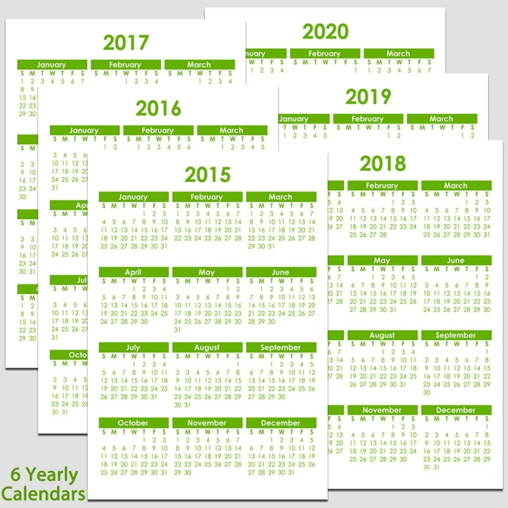 "2015 & 2020 Yearly Calendar - 5 1/2"" X 8 1/2"" 