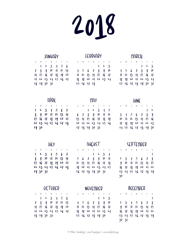 2018 Calendar | At A Glance Calendar, Printable Yearly