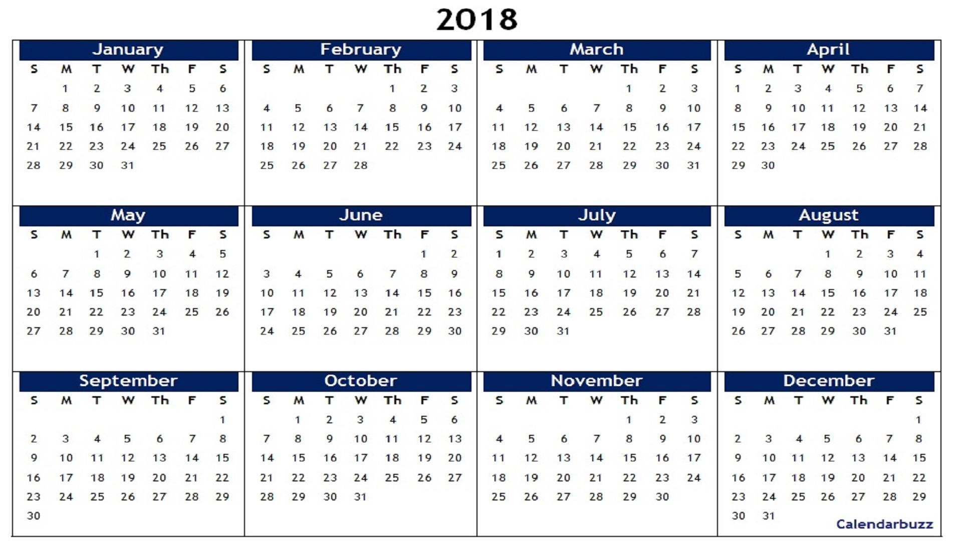 2018 Yearly Calendar Printable Templates Of Word, Excel, Pdf