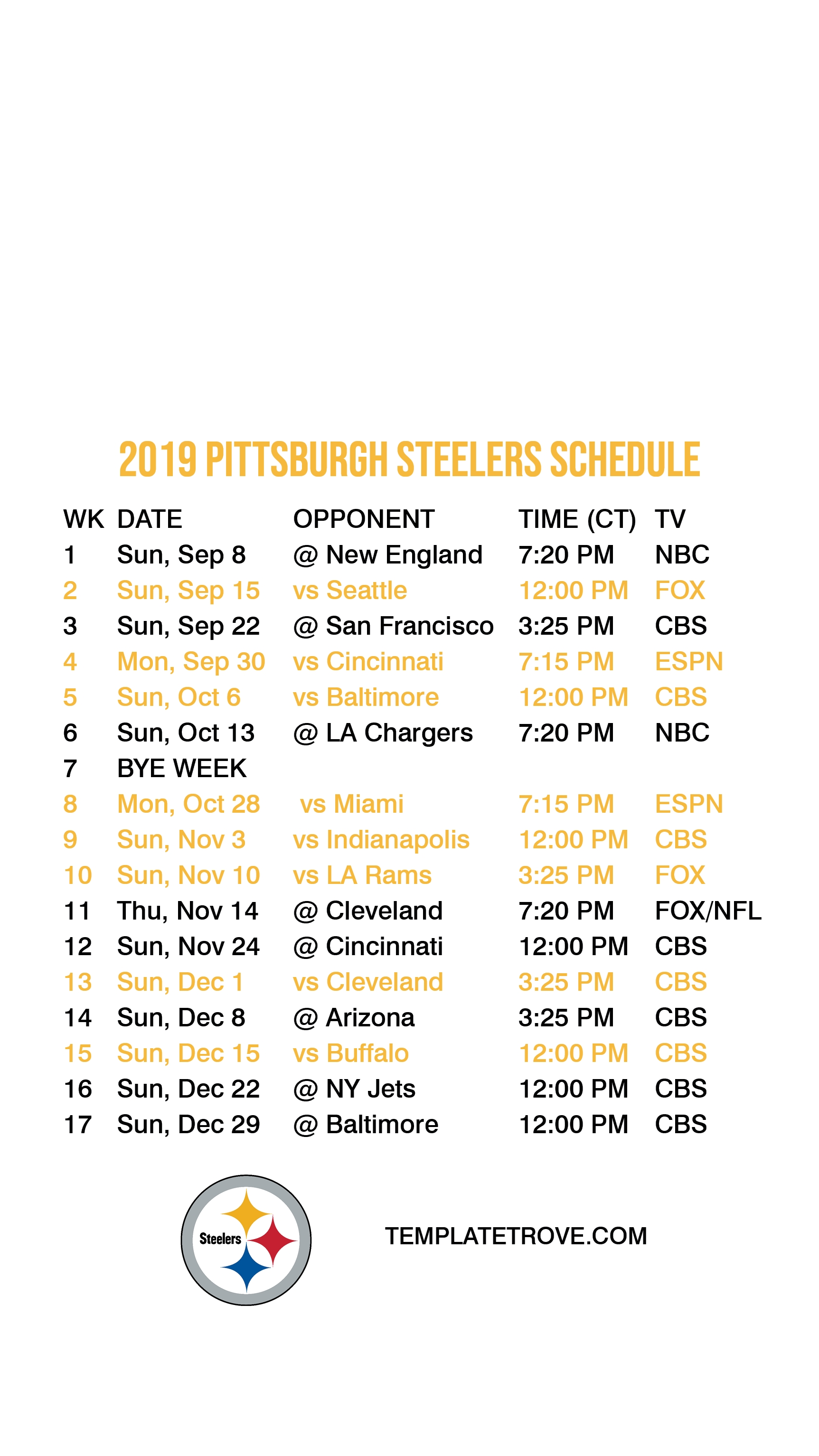 2019-2020 Pittsburgh Steelers Lock Screen Schedule For