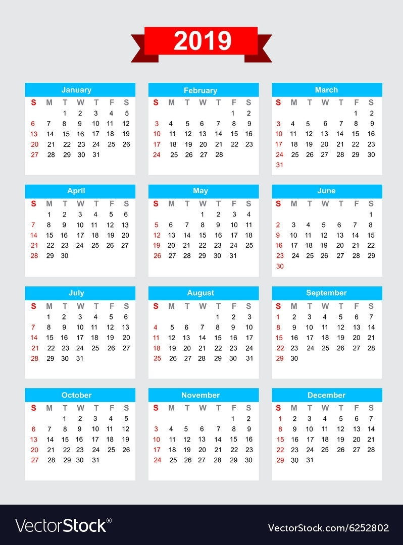 2019 Calendar Week Start Sunday