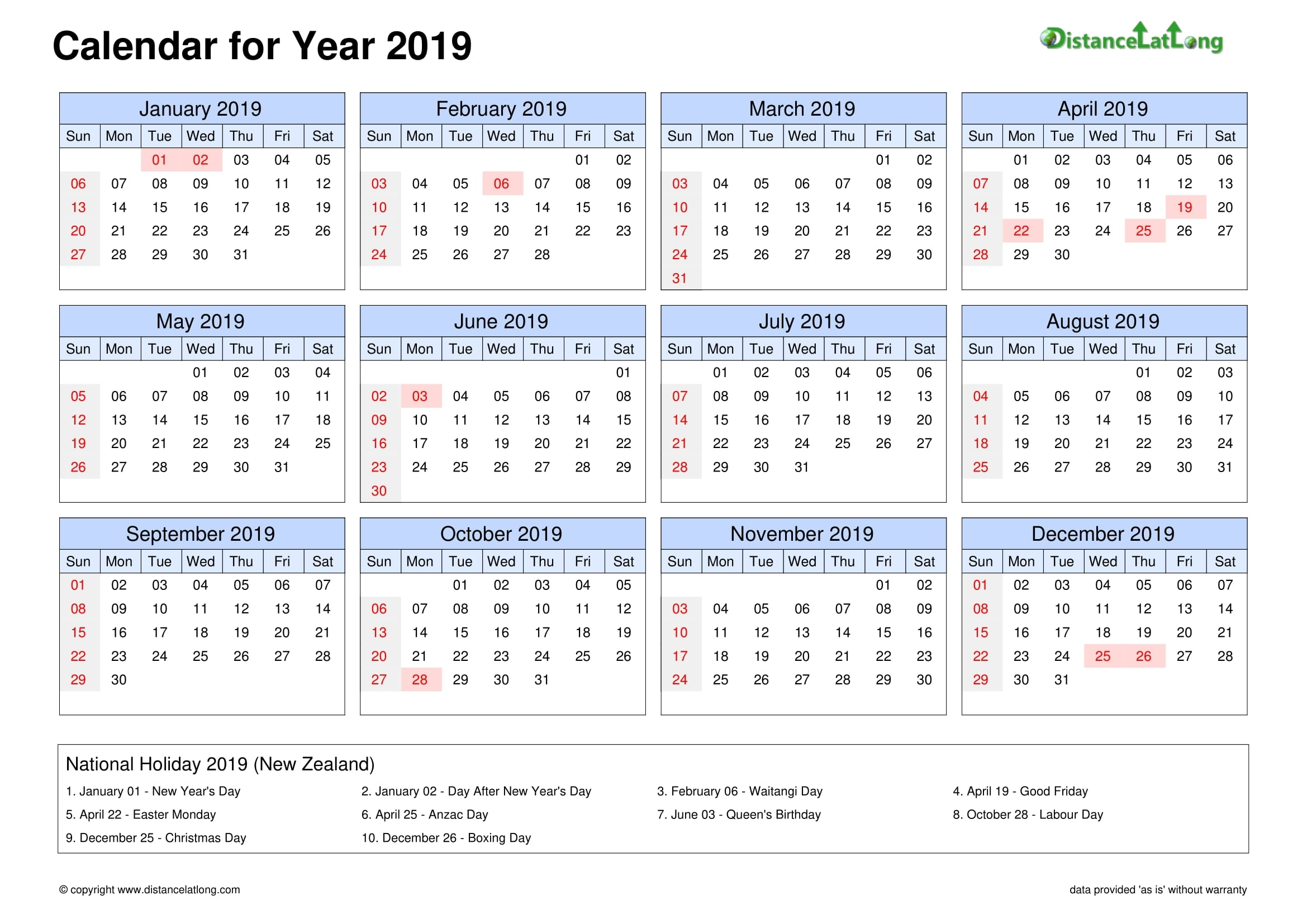 2019 Holiday Calendar Landscape Orientation Free Printable