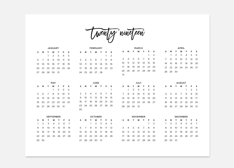 2019, Simple Calendar, 2019 Landscape Calendar, 2019 Calendar, 2019 Year  Calendar, 2019 At A Glance Calendar, 2019 Planner, 2019 Calendars
