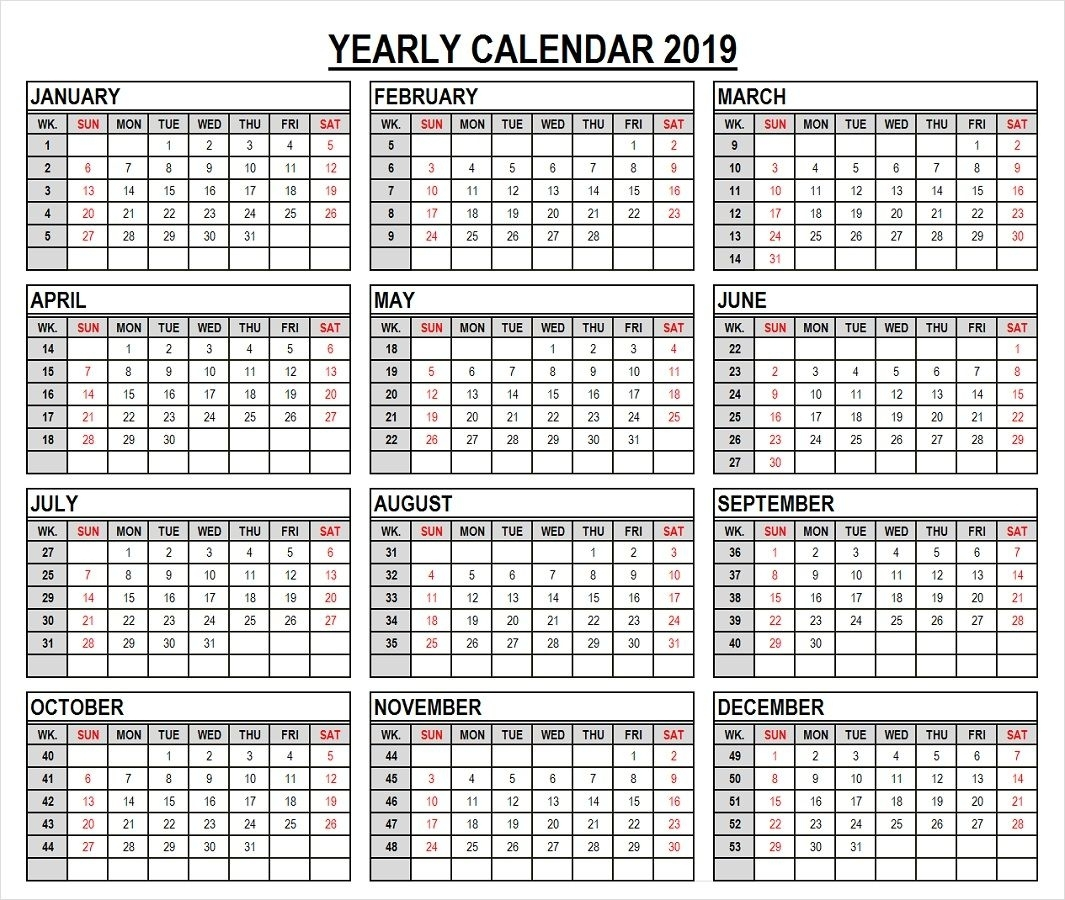 2019 Year Calendar In Weeks Template (With Images