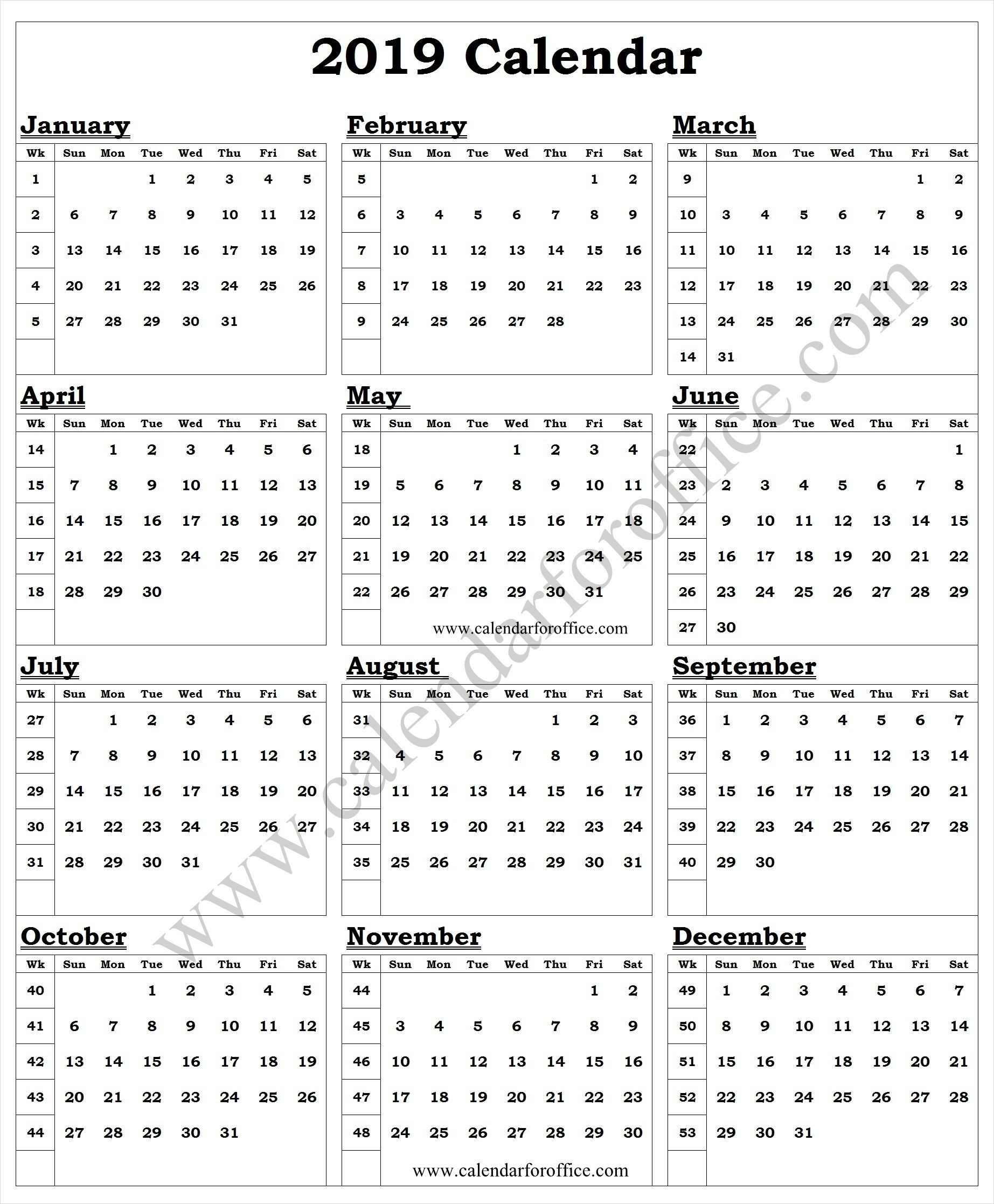 2019 Year Calendar With Week Numbers Printable Template