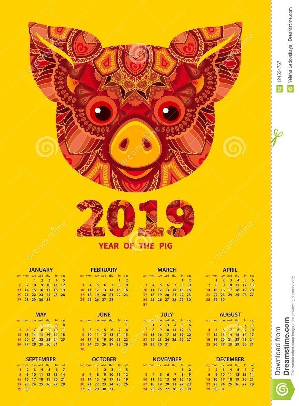 2019 Year Of The Pig Calendar Stock Vector - Illustration Of