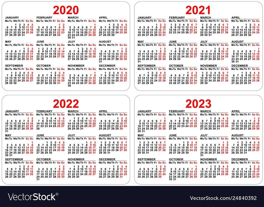 2020 2021 2022 2023 Years Set Pocket Calendar