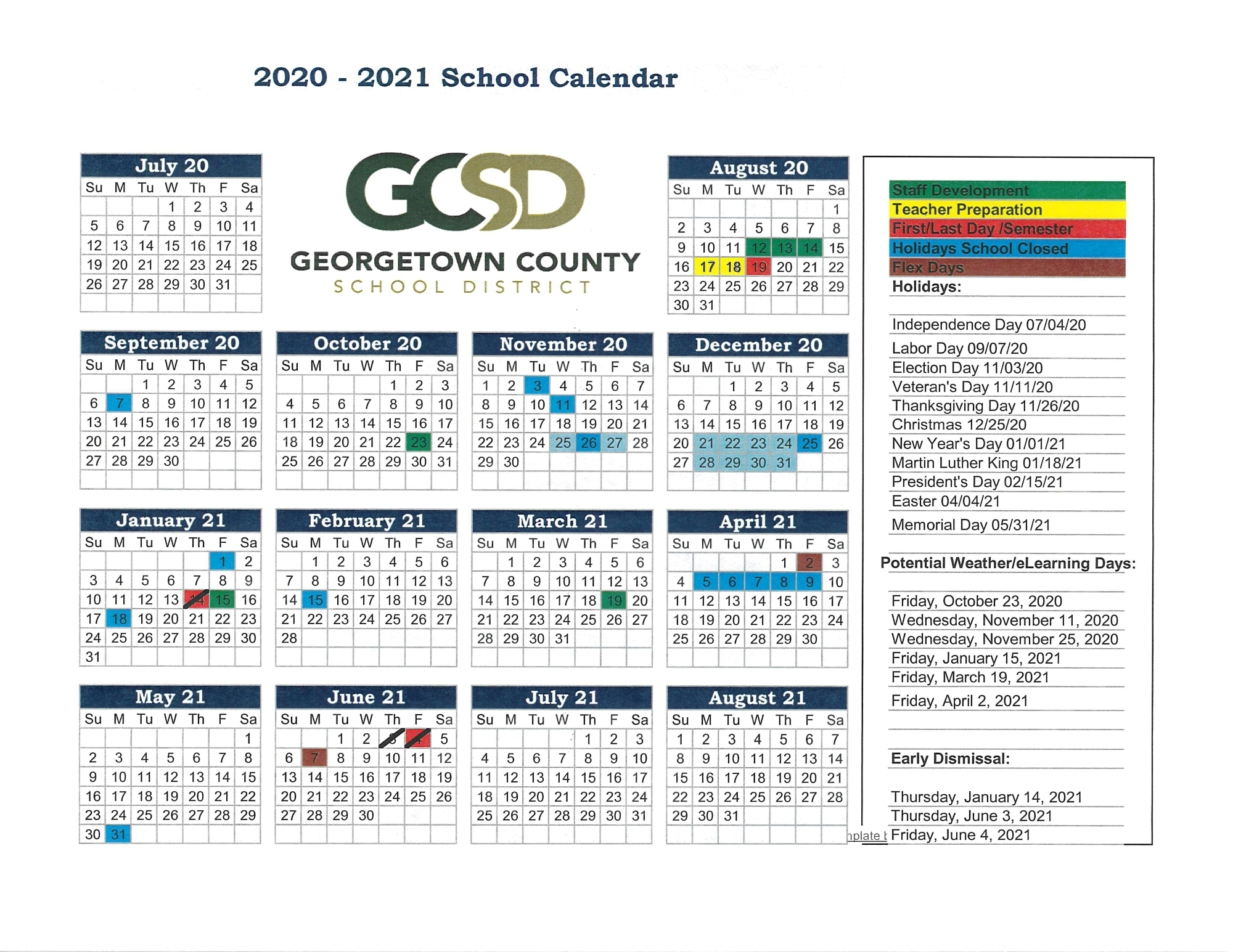 2020-2021 School Year Calendar - Georgetown County School