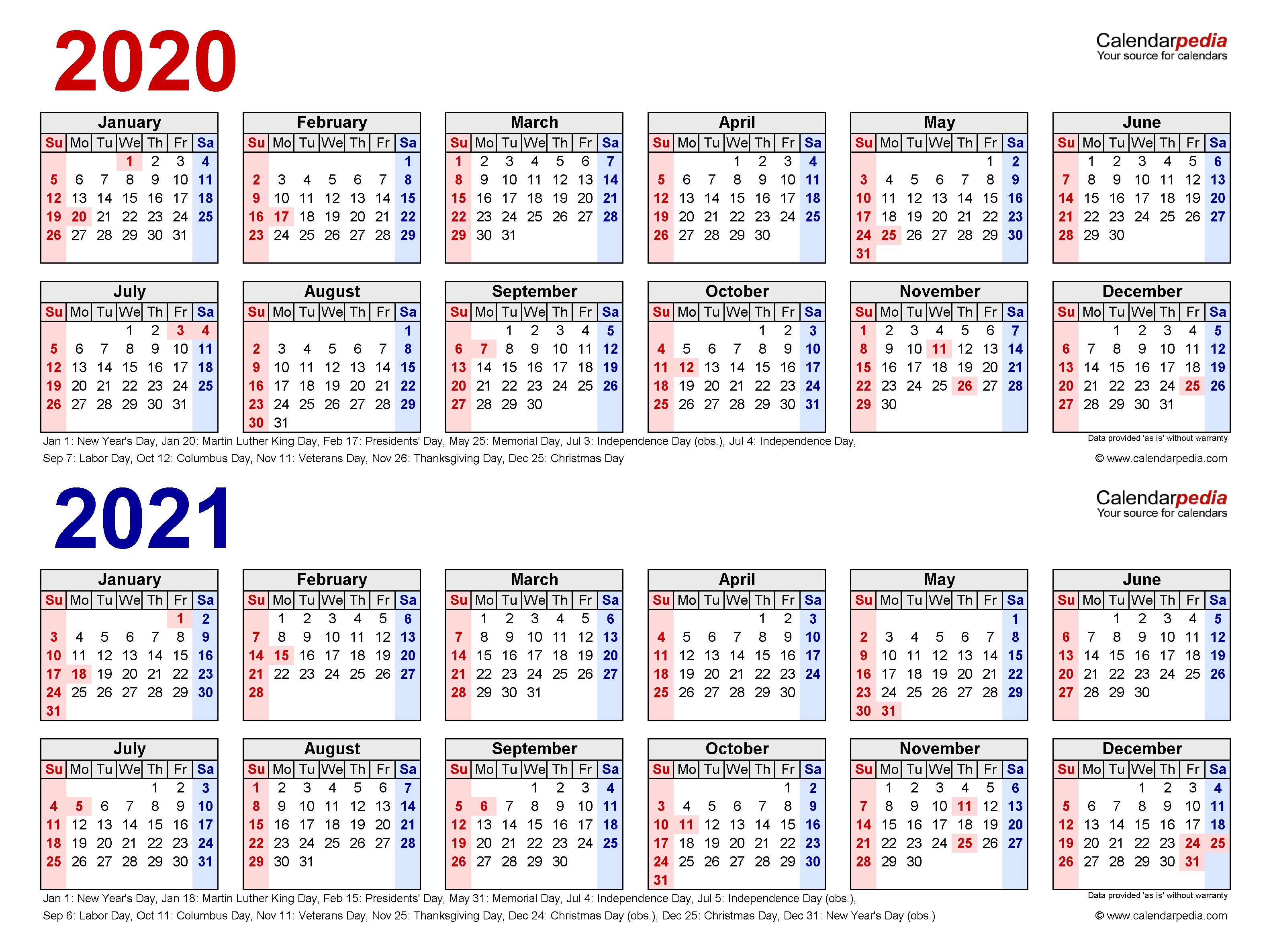 2020-2021 Two Year Calendar - Free Printable Pdf Templates