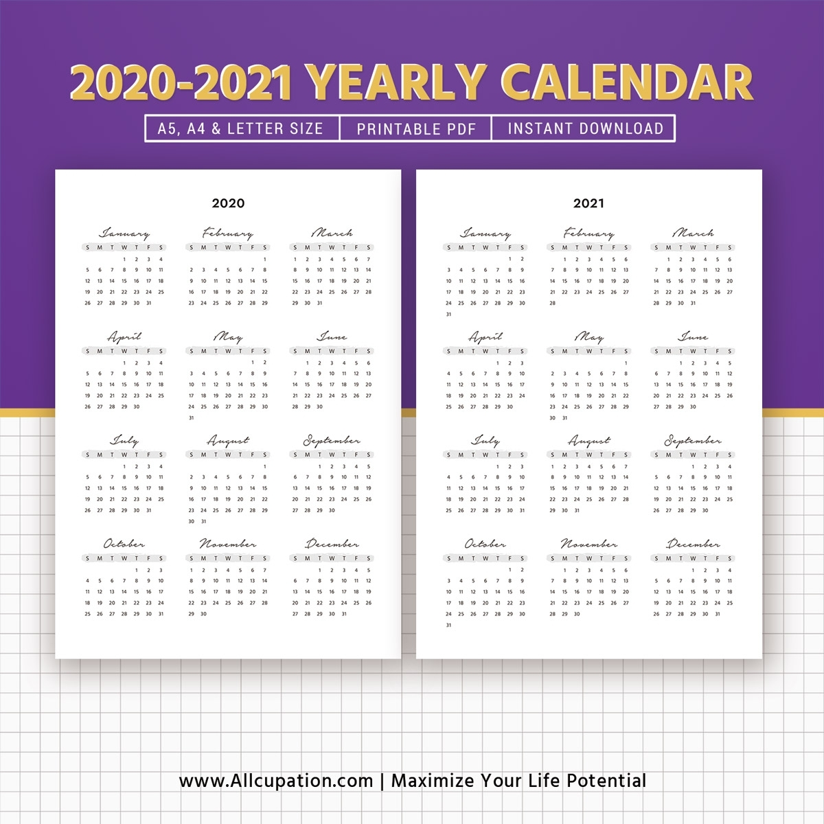 2020-2021 Yearly Calendar, Year At A Glance, Printable Calendar, Best  Planner, Planner Printable, Planner Inserts, Planner Template, Filofax A5,  A4,