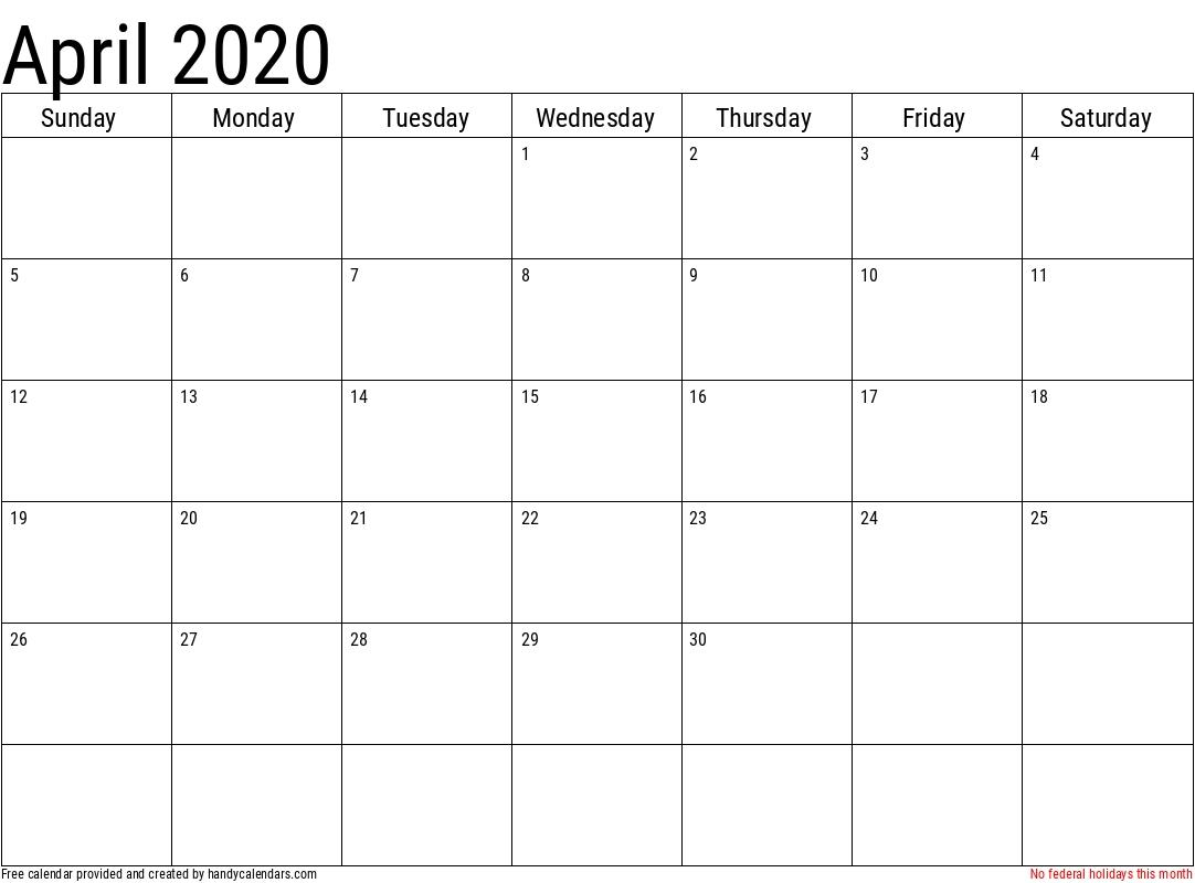 2020 April Calendars - Handy Calendars