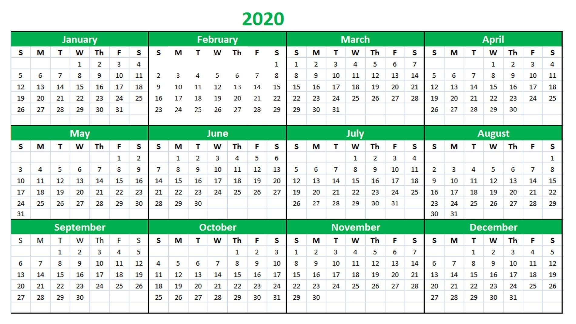 2020 Calendar Excel For Your Good Day For Desk | Calendar