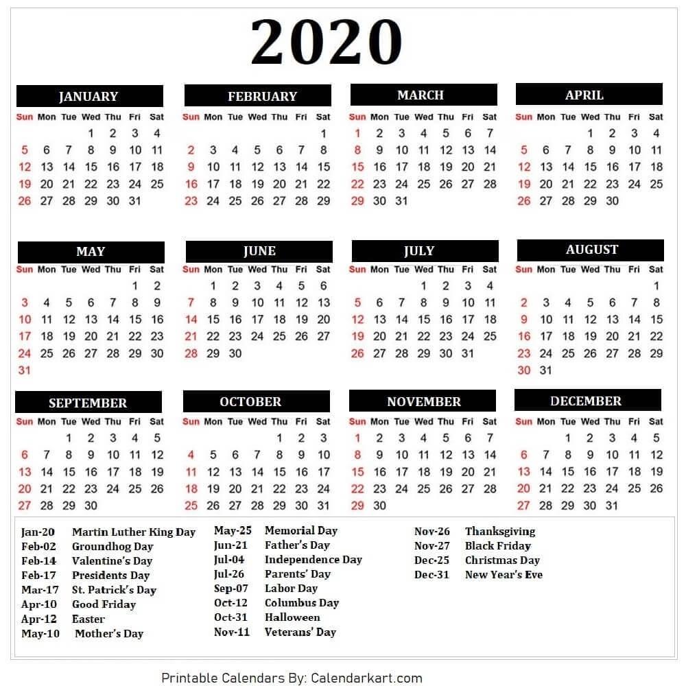 2020 Calendar Free Printable Template