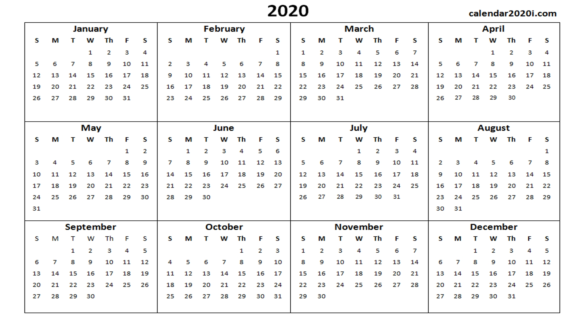 2020 Calendar Printable Template Holidays, Word, Excel, Pdf