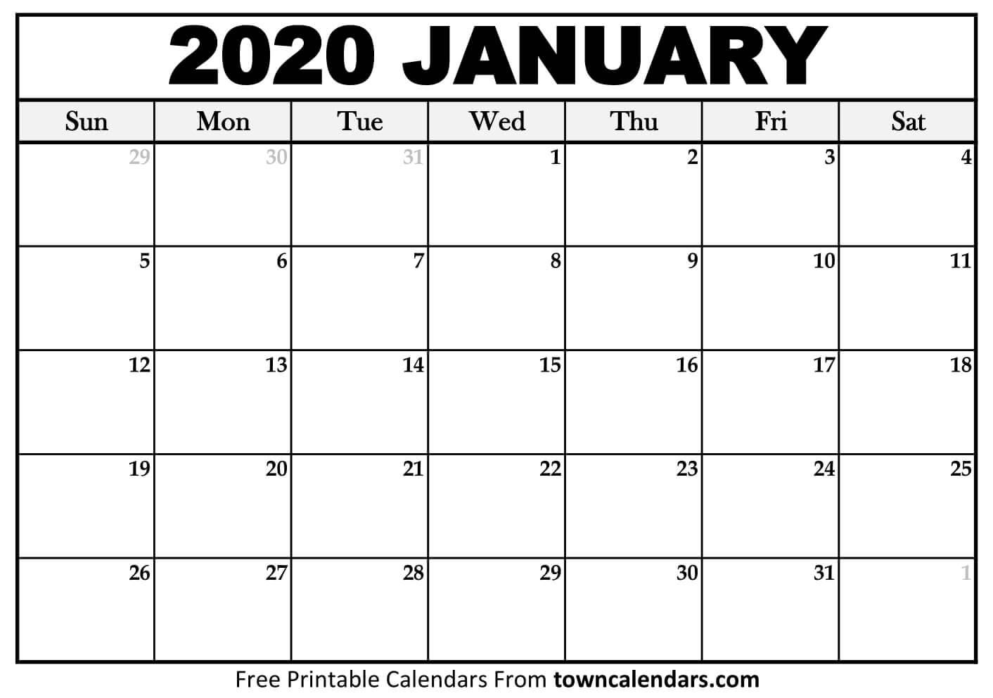 2020 Calendar Printable - Towncalendars