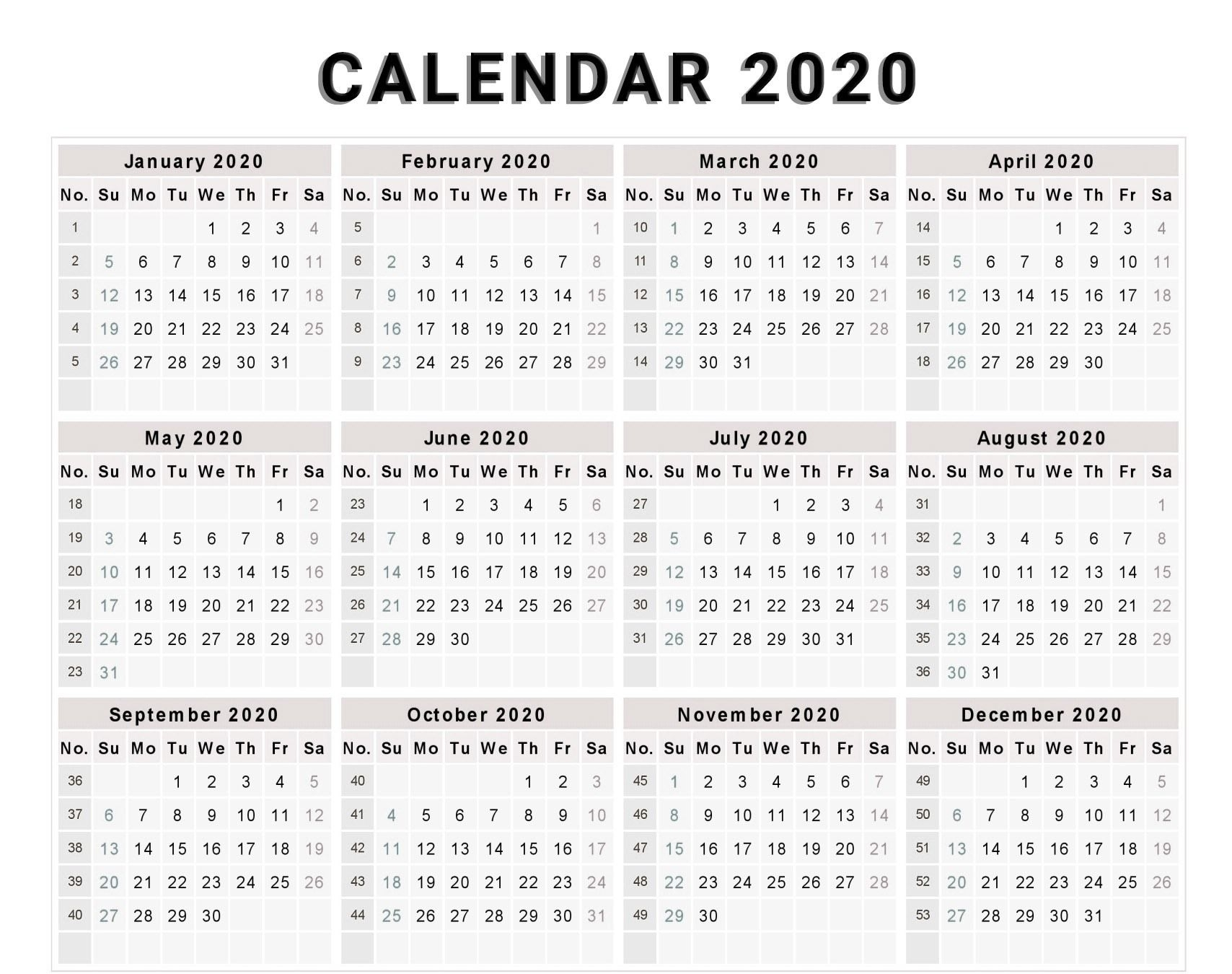 2020 Calendar Printable With Numbered Days | Monthly