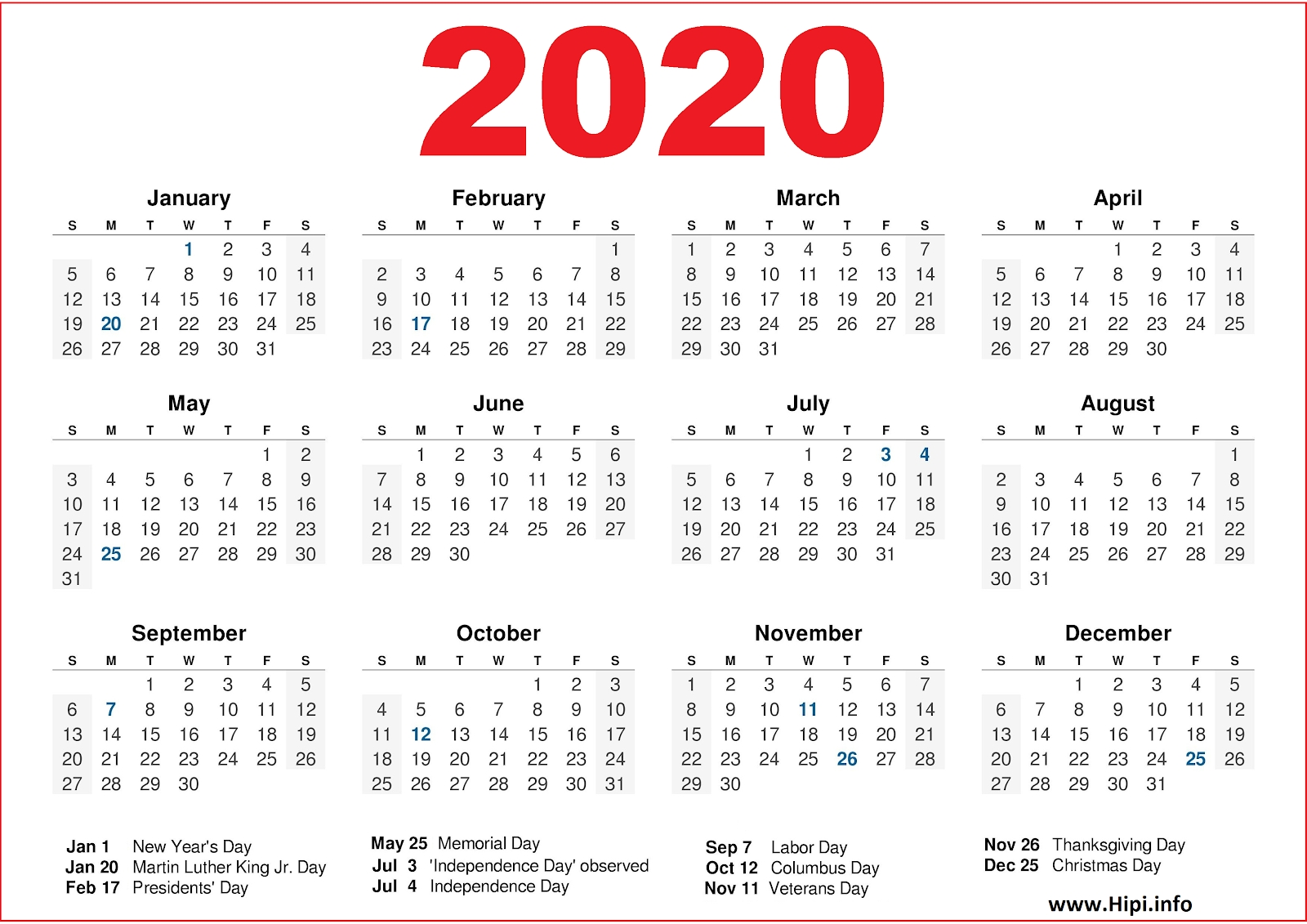 2020 Calendar Printable With Us Holidays - 2020 Calendar