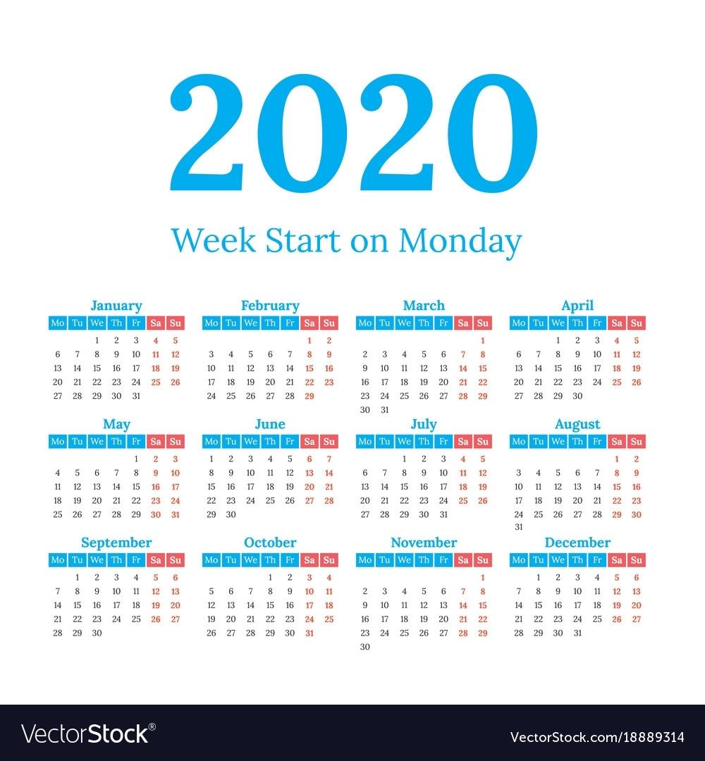 2020 Calendar Start On Monday