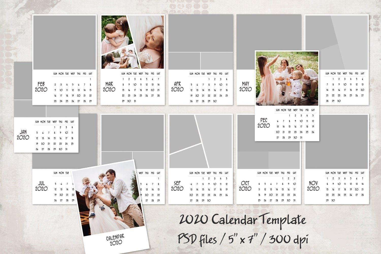 """2020 Calendar Template 5"""" X 7"""" (Dengan Gambar)"""