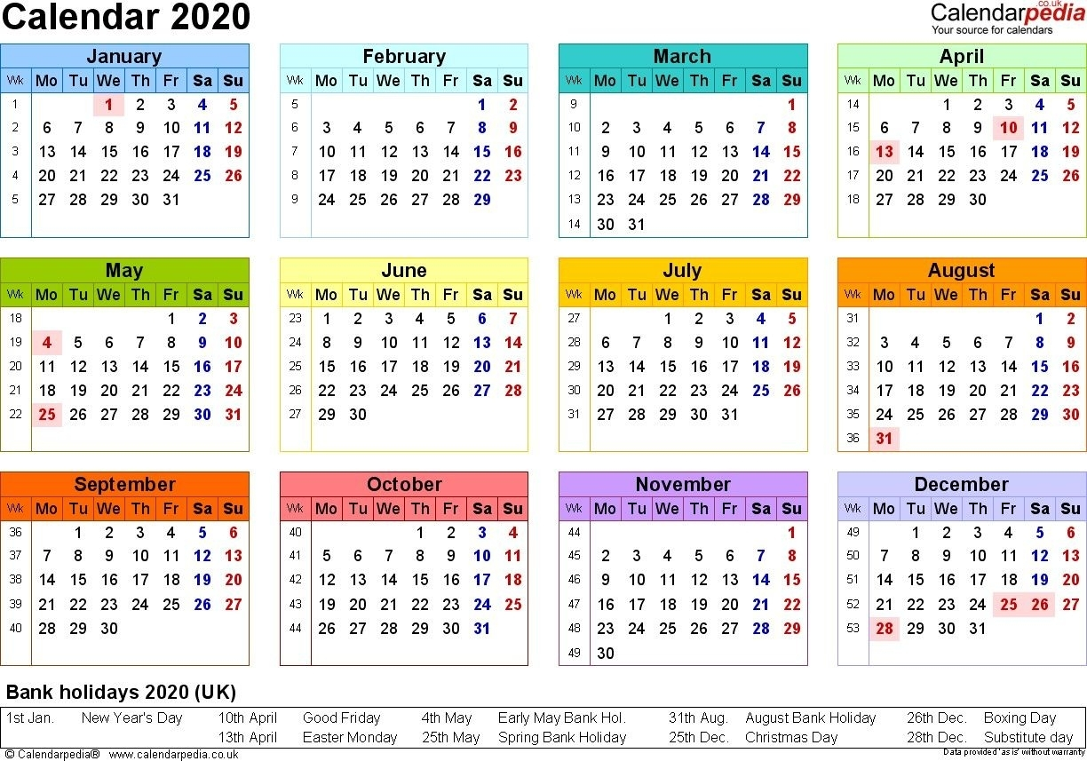 2020 Calendar Uk Printable (With Images) | Calendar Template